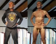 Mann angezogen und nackt