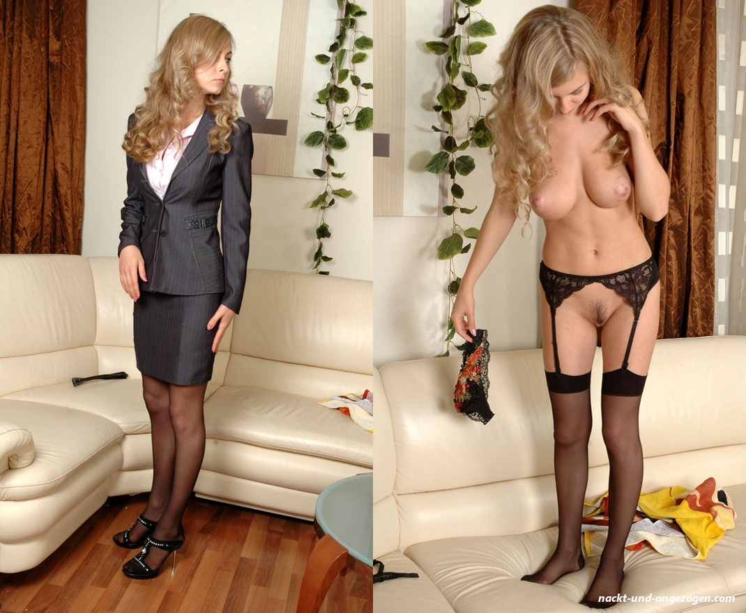 Melody In Seamless Pantyhose Undresses In The Office