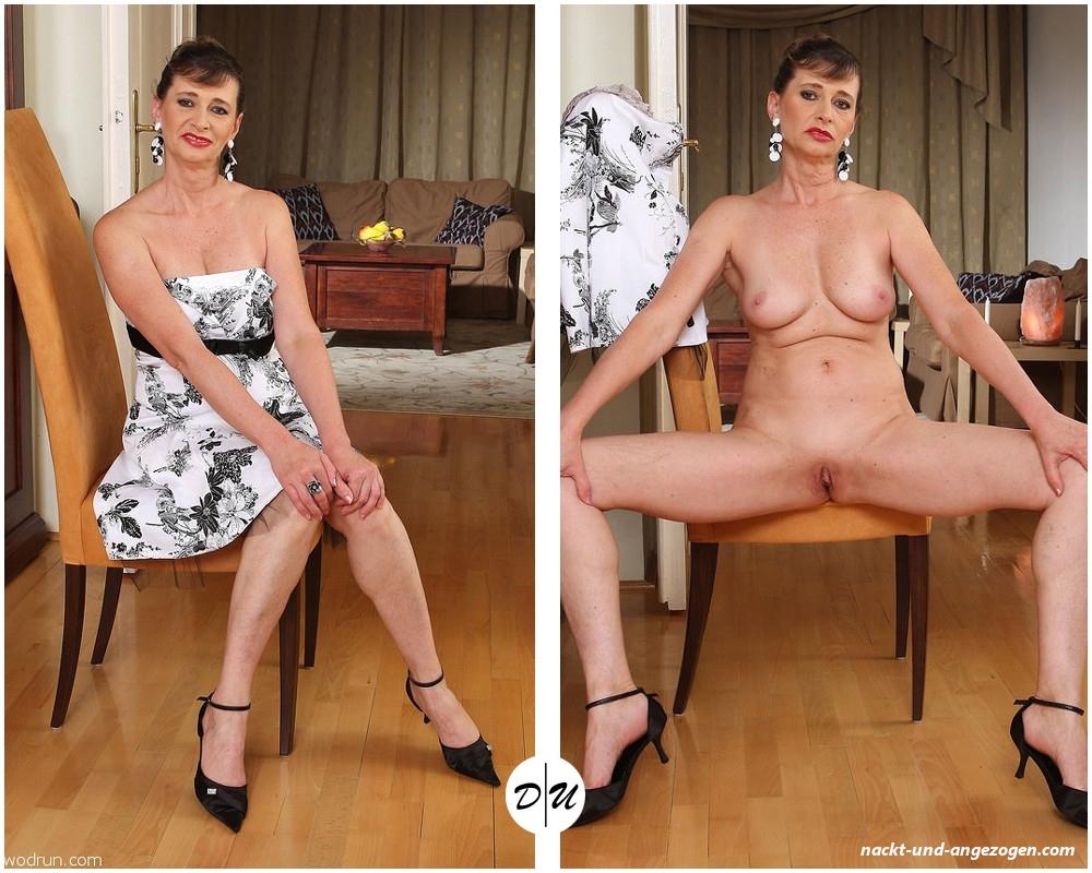 Frau nackt und bekleidet
